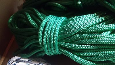 "3/8"" x 100 ft. Double Braid~Yacht Braid polyester rope. Bright Gree. Made in USA"