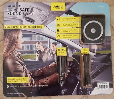 NIB JABRA TOUR Bluetooth Speakerphone & All-In-One Charger & USB Cable