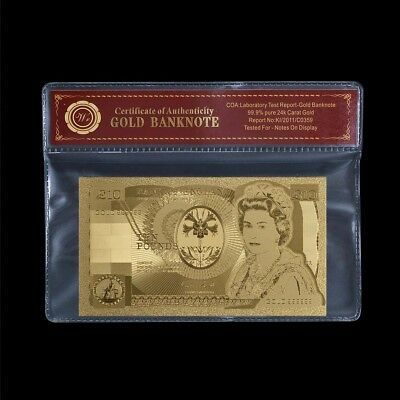 WR 24 Carat Gold Plated £10 Pound Banknote United Kingdom Gift With COA PACK