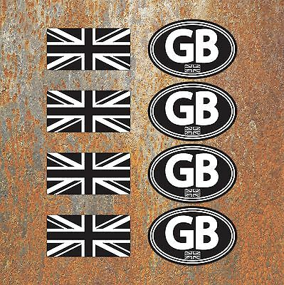 GB Union Jack Laminated Black White Stickers Motorbike Scooter Vespa Flag Decals