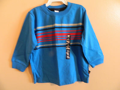 NWT baby gap boy long sleeve blue t-shirt w/gray, red and navy stripes; 12-18m