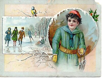 Victorian Advertising Trade Card Lion Coffee Woolson Spice Co Christmas Greeting