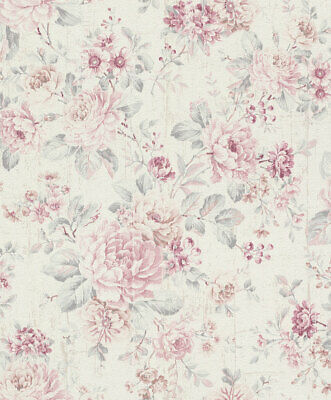 New Rasch Metallic Floral Flower Textured Wallpaper 308426