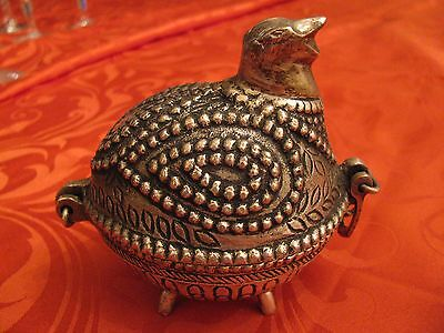 "Silver Plated Bird Quail Pill or Jewelry Box Hinged Container 4"" x 3"" x 4"""