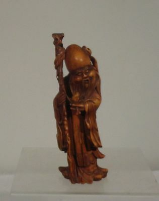 Antique Chinese Carved Boxwood Figure of Shou Lao Peach