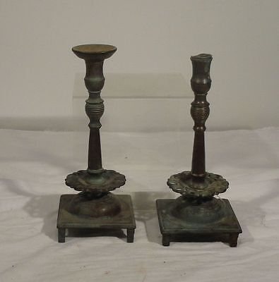 Antique Pair of Russian Style Brass Bronze Early Candlesticks 17th 18th Century