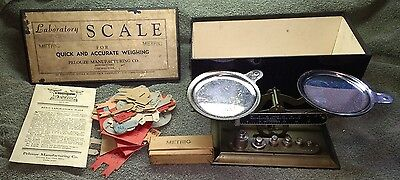 Vintage PELOUZE Laboratory Scale•Avoirdupois & Metric•HARSHAW SCIENTIFICwith Box
