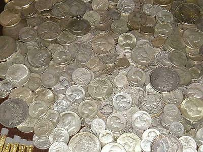 1+OZ All 1940's-50's 90% PURE SILVER COINS MIXED DATES w/ 1940's HALF DOLLAR!