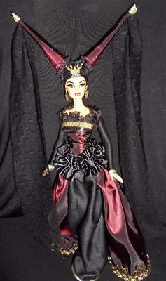 Medieval Vampiress ~ Barbie doll ooak Vampire Dracula double cone headdress