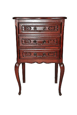 Vintage 3 Drawer Louis XV Antique French Oak Chest/Nightstand with Carbriole Leg
