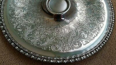Ant/Vintage Rogers & Bro Silverplate Ornate Flower Etching Dipping Serving Tray