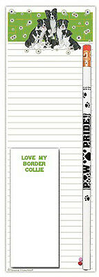 Border Collie List Pad Notepad To Do Pencil Gift Set