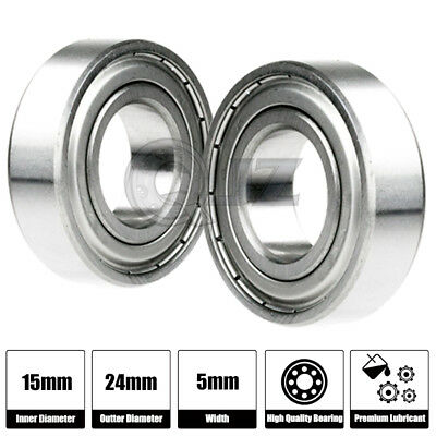 10 x F6802zz Metal Double Shielded  Flanged  Ball Bearings 15mm*24mm*5mm