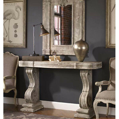 Country Farmhouse Old World Style Distressed Console Table Decor