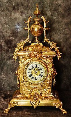 Gorgeous Japy Freres Large Heavy Empire French Antique Gilt Bronze Clock 19Th C