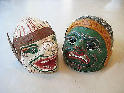 Hanuman and Demon Masks Two large Vintage Thai Papier Mache Full Head size 1960s