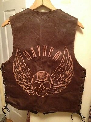 Mens Xelement Live to Ride Mayhem USA. Brown Leather Motorcycle Rider Vest. Sz.M