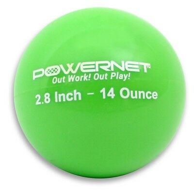 (14 Oz - Green) - PowerNet 7.1cm Weighted Hitting and Batting Training Ball (6 p