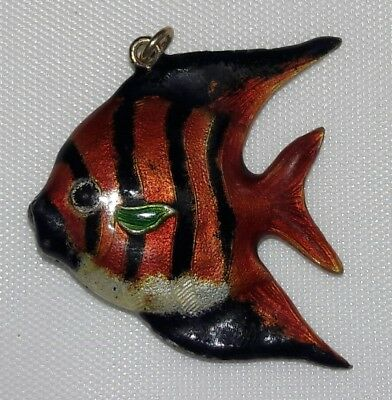 Chinese Export Silver Enamel Pendant Cloisonne FISH Red  MID CENTURY