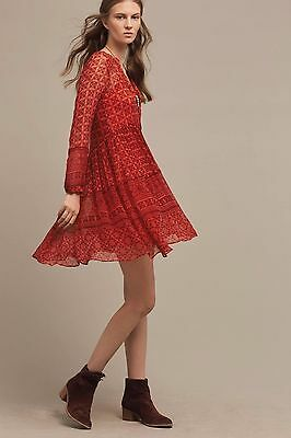6db5726f3868e Anthropologie Maeve Red Printed Swing Dress Sizes 8P and 4 $148