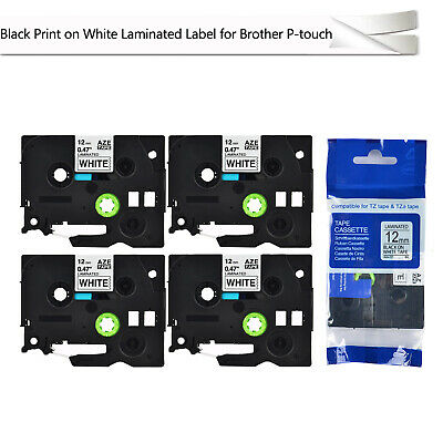 4PK TZ-231 Black on White Label Tape 12mm Compatible for Brother P-touch TZe-231