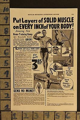1933 Home Gym Fitness Muscle Physique Sport Fitness Vintage Art Ad  Zd73