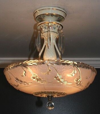 "Antique 14"" pink glass art deco light fixture ceiling chandelier Porcelier 1940s"