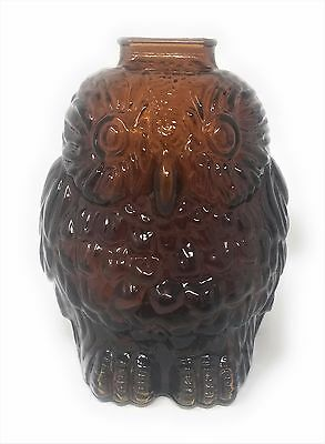Vintage Wise Old Owl Libbey Glass Piggy Bank Brown Pressed Glass EUC