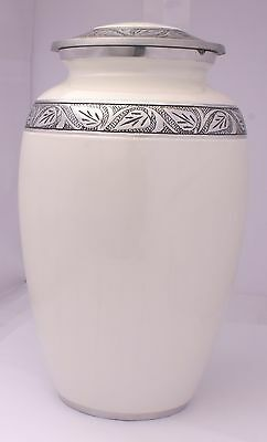 Adult Cremation Urn for Ashes, Ashes Urn Large Funeral Memorial Pearl White