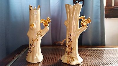 Vintage 22K Gold Cream Colored Bud Vases (Lot of 2)