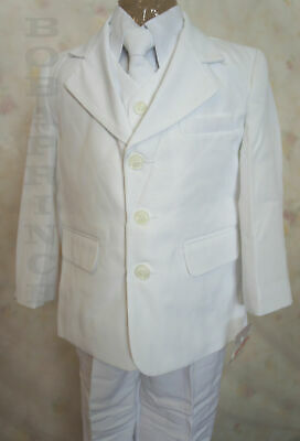 #20 NEW BOY (Sz 4/5/6) FORMAL 5 PCS White Communion SUIT set,Wedding/Baptism
