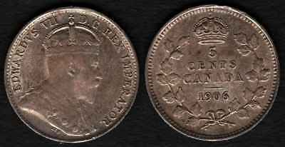 CANADA 1906 Silver 5 Cents XF ***