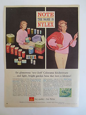 Vintage advertising original 1962 Australian ad NYLEX kitchenware canisters hose
