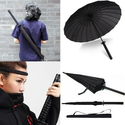 Japanese Katana Windproof Warrior Umbrella Black Samurai Sword Handle Strap Fold