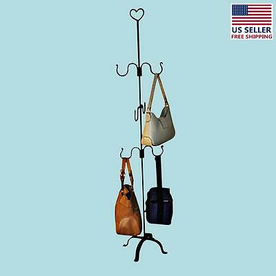 """Hand Forged Iron Bag Rack Spice Plant Hanger 60"""" H 