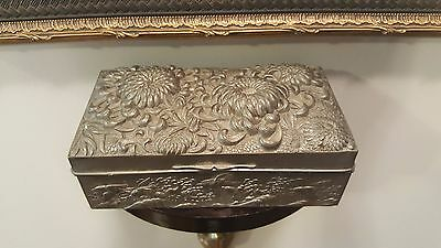 Antique Japanese Asian Pewter Birds Waves & Chrysanthemum Flower Jewelry Box