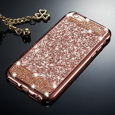 Luxury Bling Glitter Diamond Soft TPU Case Skin Cover For iPhone Samsung Galaxy