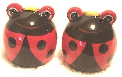 Collectible Whimsical Ceramic Ladybugs Salt & Pepper Shakers Standing Up Smiling