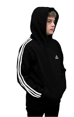 (Youth Large 14/16, Fleece Pullover Hoodie, Black/White) - adidas Youth Fleece
