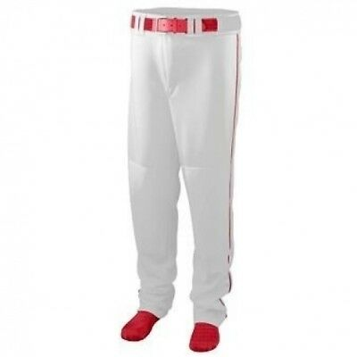 Youth Series Baseball/Softball Pant with Piping - WHITE and RED - LARGE. Augusta