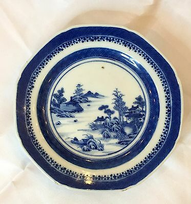 "18th Century Qianlong Antique Blue & White Chinese 6 1/8"" Dish Nanking Pattern"