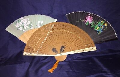 Pretty vintage Hand Held Folding Fans Lot large bamboo wood cutouts and florals