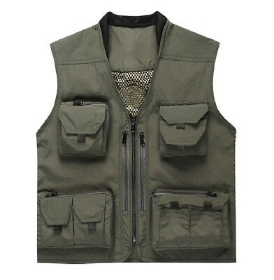 (X-Large, Army green) - Fish Fly Fishing Vest with Meshing Lining 14 Pockets for