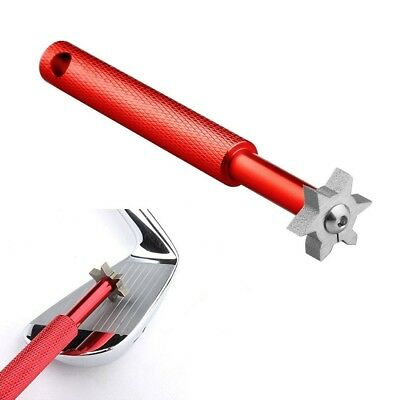 (Red) - Amazingli Golf Club Groove Sharpener Tool with 6 Cutters (2U & 4V) Re-Gr