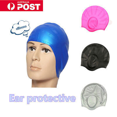 Ear Protective Silicone Waterproof Swimming Cap Adults Men Women Swim Hat AU