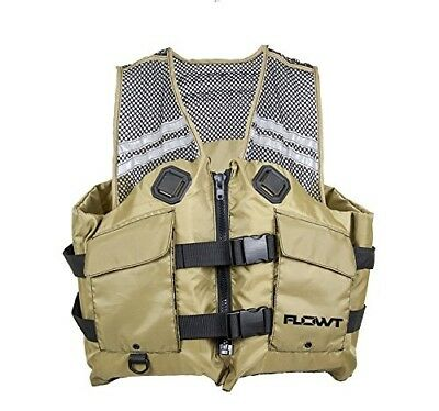 (Large/X-Large, Tan) - Flowt Mesh Fishing Adult Life Vest Type III PFD. Delivery