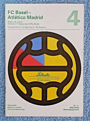 1975 - BASEL v ATLETICO MADRID PROGRAMME - CUP WINNERS CUP 1ST ROUND