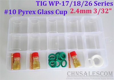 28 pcs TIG Welding Stubby Gas Lens #10 Pyrex Cup Kit  WP-17/18/26 Torch  3/32""