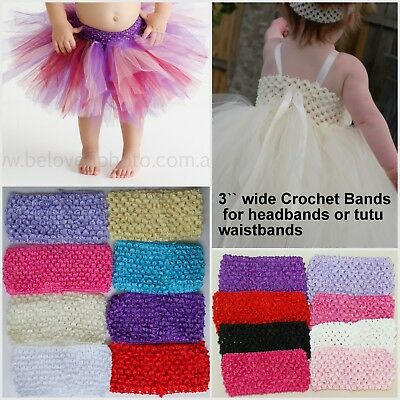 "4-8 Crochet 3"" Tutu Skirt Waistband Dress Bodice Baby Headband Headbands Elastic"