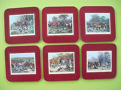Boxed Set of 6 Drink Coasters - Horse & Hound Fox Hunt Scenes - Cloverleaf Brand